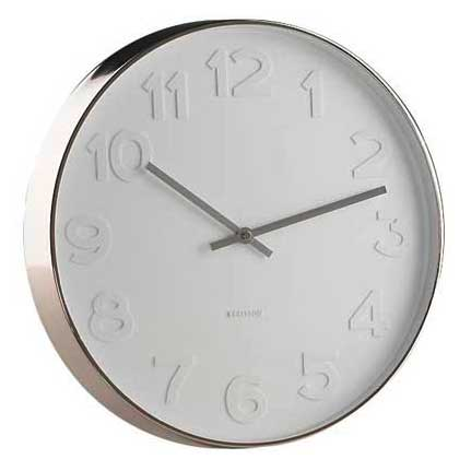 Wall Clock Mr White Number With Polished Steel Rim