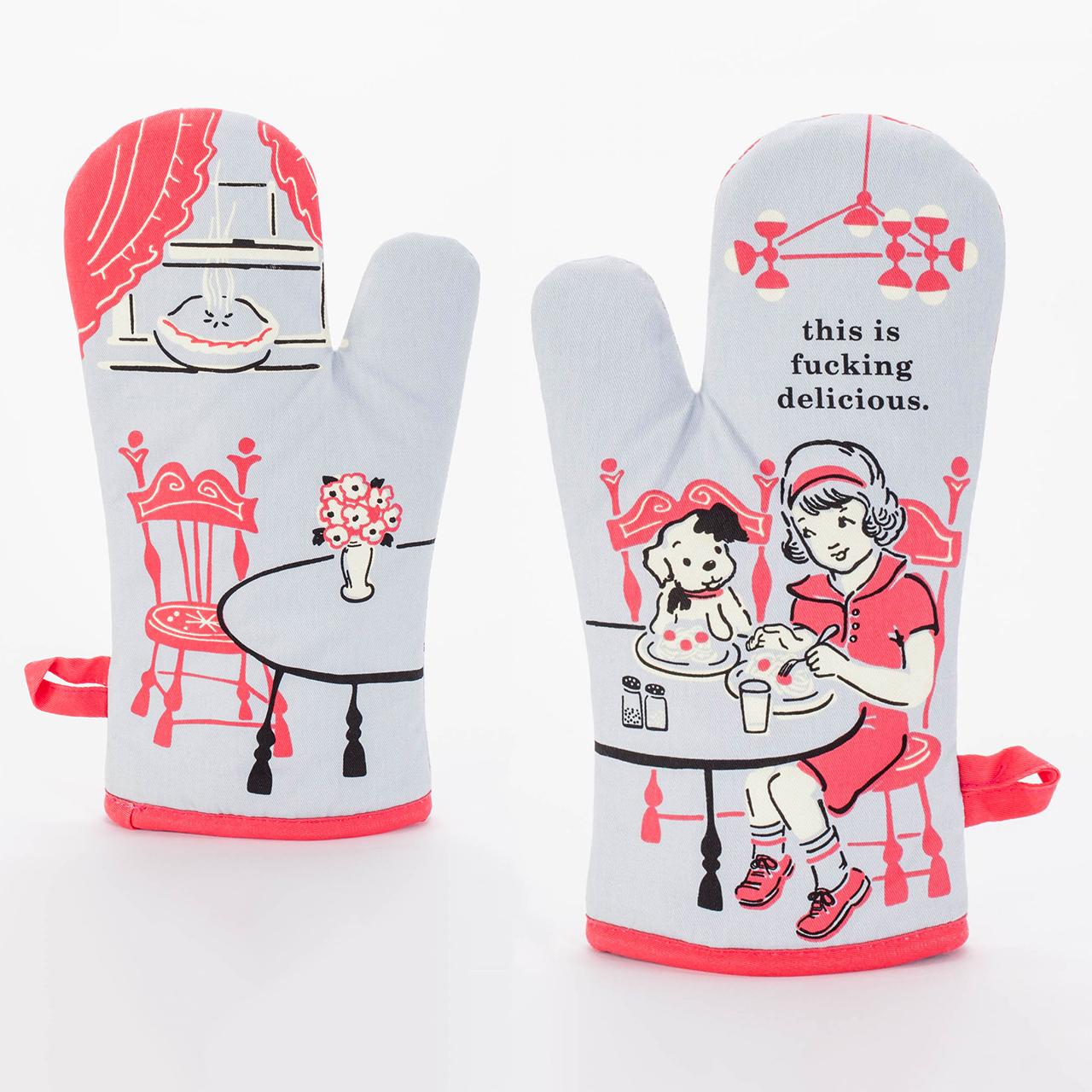 Pot Glove Kitchen Novelty Home Gift Blue Q /'You/'re Beautiful /' Oven Mitt